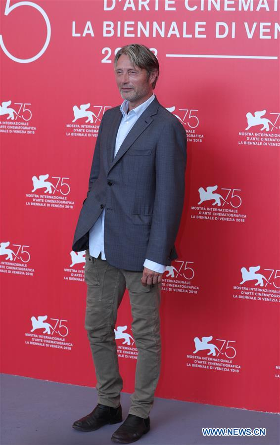 "Actor Mads Mikkelsen attends ""At Eternity's Gate"" photocall during the 75th Venice International Film Festival at Sala Casino, Venice, Italy, Sept. 3, 2018. (Xinhua/Cheng Tingting)"