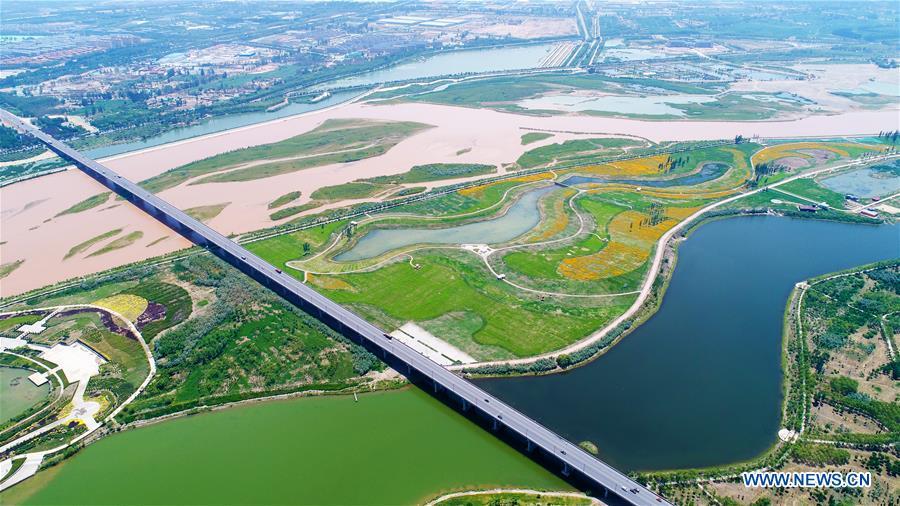 Aerial photo taken on June 26, 2018 shows the Yellow River in Wuzhong City, northwest China's Ningxia Hui Autonomous Region. (Xinhua/Wang Peng)