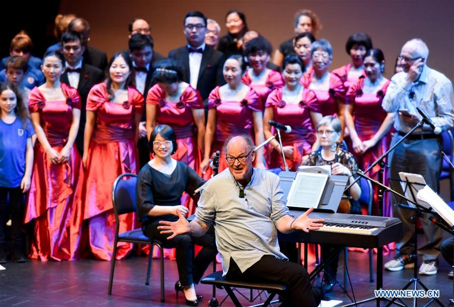 Singers from Wellington Community Choir prepare to sing Chinese song &quot;The Moon Represents My Heart&quot; together with others from Oriental Voices and Kelburn Lyrica Choir in celebration of Chinese Mid-Autumn Festival 2018 at Te Papa, the national Museum in Wellington, New Zealand on Sept. 16, 2018. (Xinhua/Guo Lei)<br/>
