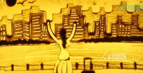 일용직 여성, 모래그림으로 고향땅 변화 그려내