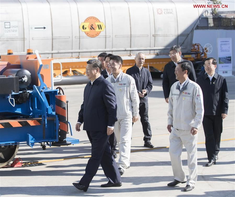 Chinese President Xi Jinping, also general secretary of the Communist Party of China (CPC) Central Committee and chairman of the Central Military Commission, visits China Railway Rolling Stock Corporation (CRRC) Qiqihar Co. in Qiqihar, northeast China's Heilongjiang Province, Sept. 26, 2018. Xi inspected Qiqihar on Wednesday. (Xinhua/Wang Ye)<br/>