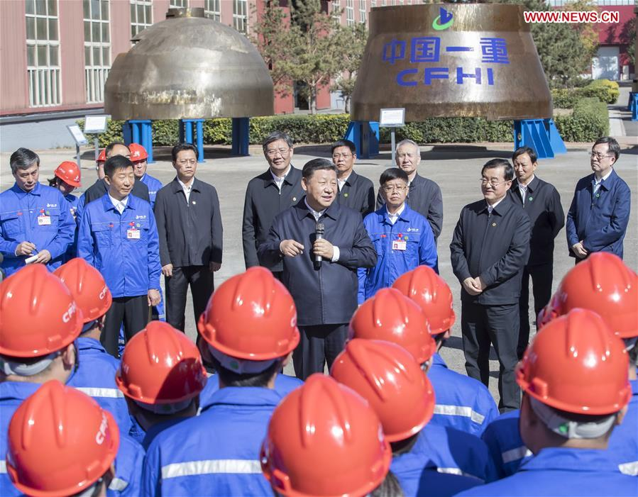 Chinese President Xi Jinping, also general secretary of the Communist Party of China (CPC) Central Committee and chairman of the Central Military Commission, speaks to workers during his visit to China First Heavy Industries (CFHI) in Qiqihar, northeast China's Heilongjiang Province, Sept. 26, 2018. Xi inspected Qiqihar on Wednesday. (Xinhua/Wang Ye)<br/>