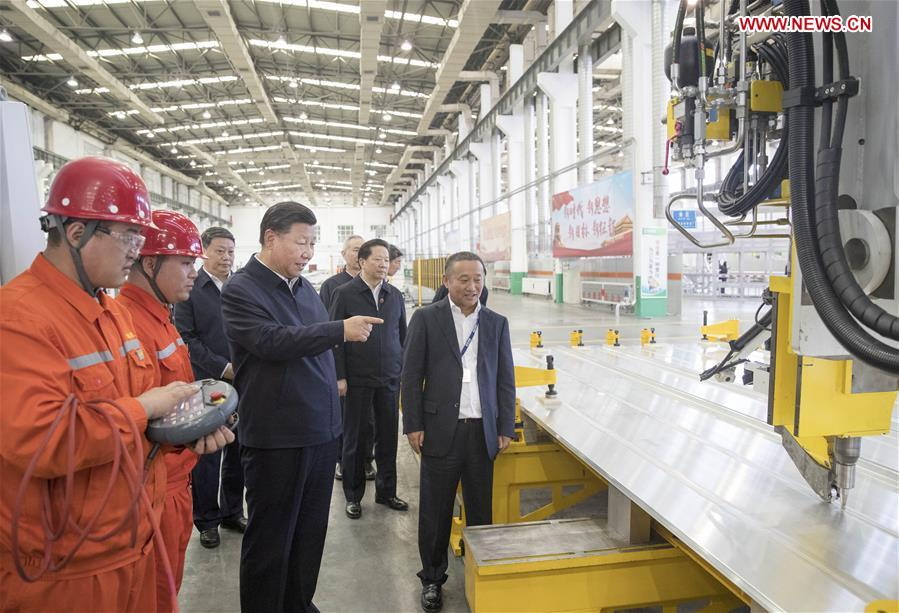 Chinese President Xi Jinping, also general secretary of the Communist Party of China (CPC) Central Committee and chairman of the Central Military Commission, visits a workshop of Liaoning-based China Zhongwang Holding in northeast China's Liaoning Province, Sept. 27, 2018. Xi started an inspection tour in Liaoning on Thursday. (Xinhua/Wang Ye)<br/>
