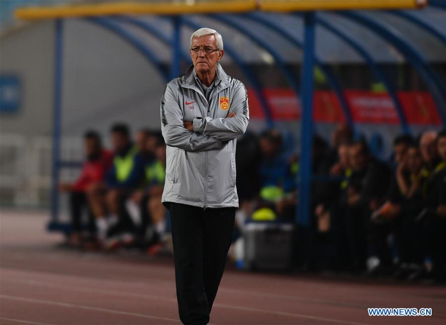 Marcello Lippi, head coach of China looks on during the CFA Team China International Football Match 2018 between China and Syria in Nanjing, capital of east China's Jiangsu Province, Oct. 16, 2018. China won 2-0. (Xinhua/Ji Chunpeng)<br/>