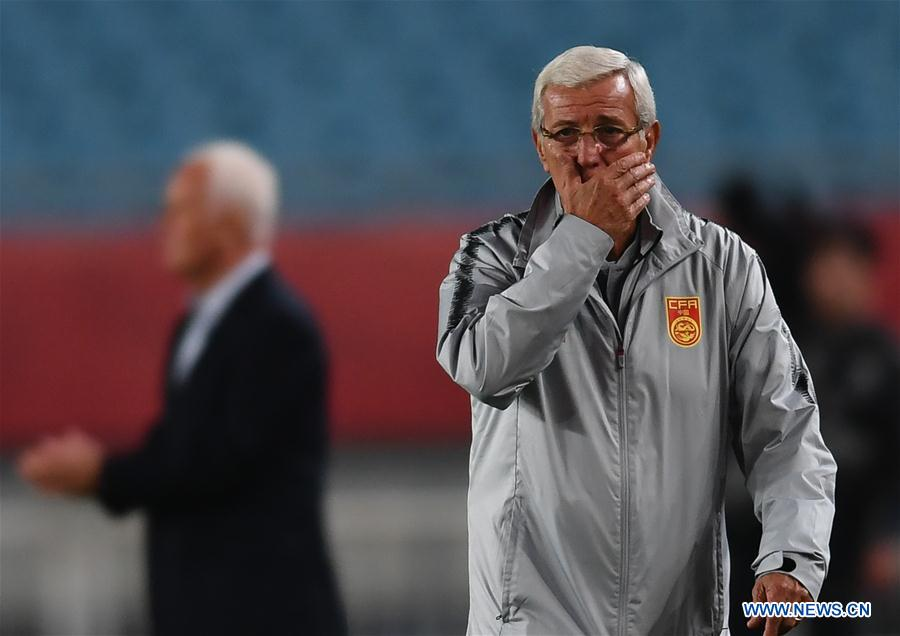 Marcello Lippi, head coach of China reacts during the CFA Team China International Football Match 2018 between China and Syria in Nanjing, capital of east China's Jiangsu Province, Oct. 16, 2018. China won 2-0. (Xinhua/Ji Chunpeng)<br/>