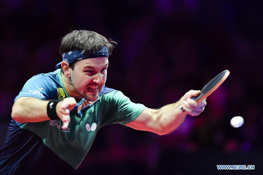 Timo Boll of Germany returns the ball during the final match against Fan Zhendong of China at the 2018 ITTF Men's World Cup in Chessy, France on Oct. 21, 2018. Timo Boll lost 1-4. (Xinhua/Chen Yichen)<br/>