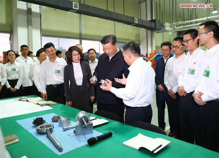 Chinese President Xi Jinping, also general secretary of the Communist Party of China Central Committee and chairman of the Central Military Commission, visits Gree Electric Appliances in Zhuhai, south China's Guangdong Province, Oct. 22, 2018. Xi made an inspection tour in Zhuhai on Monday. (Xinhua/Xie Huanchi)