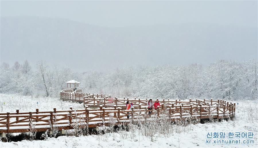 10월26일, 오르쳔자치기의 한 관광지에서 사람들이 설경을 구경하고 있다. 10월26일, 다싱안링 남쪽 기슭에 위치한 내몽골자치구 훌룬뷔르시 오르쳔자치기에 눈이 내렸다. 눈바람 속에서 보일 듯 말 듯 하는 원시삼림은 아름다운 화폭을 펼쳐 놓은 듯 하다. [촬영/신화사 기자 허우위펑(侯玉鵬)]<br/>