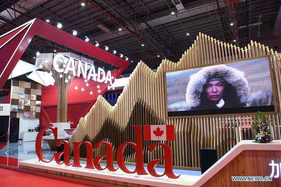 The Canada pavilion is seen during the first China International Import Expo (CIIE) in Shanghai, east China, Nov. 5, 2018. A total of 82 countries and three international organizations showcased their achievements in economic and trade development as well as competitive products at 71 booths in the Country Pavilion for Trade and Investment at the CIIE. (Xinhua/Sadat)<br/>
