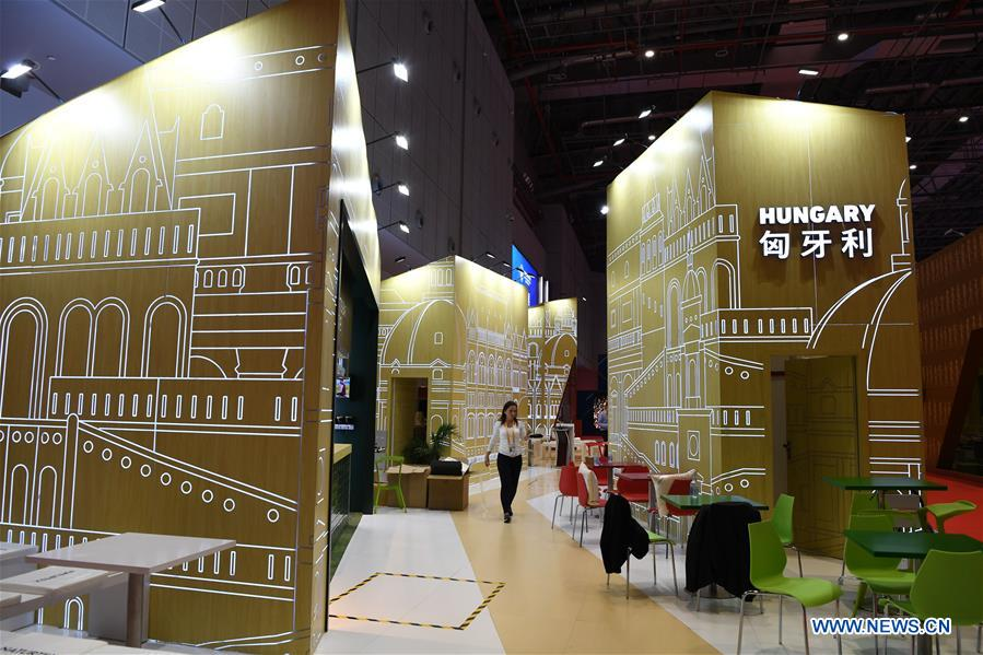 The Hungary pavilion is seen at the first China International Import Expo (CIIE) in Shanghai, east China, Nov. 5, 2018. A total of 82 countries and three international organizations showcased their achievements in economic and trade development as well as competitive products at 71 booths in the Country Pavilion for Trade and Investment at the CIIE. (Xinhua/Sadat)<br/>