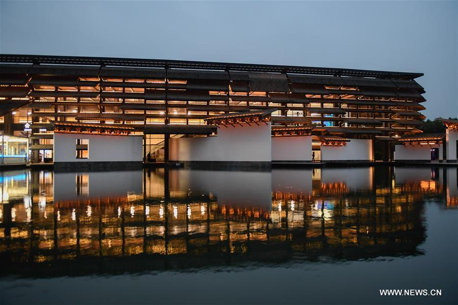 Photo taken on Nov. 6, 2018 shows the night scenery of Wuzhen International Internet Exhibition and Convention Center, a permanent home for the World Internet Conference, in Wuzhen, east China's Zhejiang Province. The fifth World Internet Conference (WIC) is scheduled to run from November 7-9 in the river town of Wuzhen. (Xinhua/Huang Zongzhi)