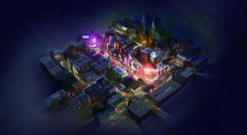 外景地美国小镇夜景效果图示意图 西海岸发展集团供图