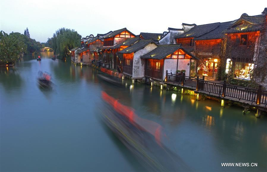 Photo taken on Nov. 6, 2018 shows the scenery of Wuzhen, east China's Zhejiang Province. The fifth World Internet Conference (WIC) is scheduled to run from November 7-9 in the river town of Wuzhen. (Xinhua/Cai Yang)<br/>