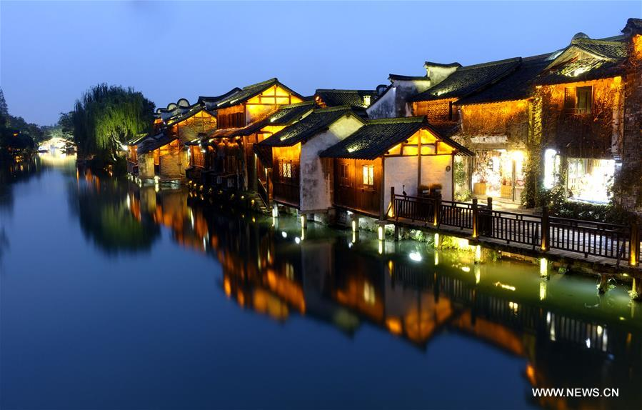 Photo taken on Nov. 6, 2018 shows the night scenery of Wuzhen, east China's Zhejiang Province. The fifth World Internet Conference (WIC) is scheduled to run from November 7-9 in the river town of Wuzhen. (Xinhua/Cai Yang)<br/>