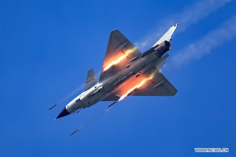 A People's Liberation Army (PLA) airforce J-10A fighter is seen during a training module in preparation for the International Army Games on July 11, 2018. The Chinese Air Force announced a roadmap for building a stronger modern air force in three steps. The building of a stronger modern air force is in line with the overall goal of building national defense and the armed forces, Lieutenant General Xu Anxiang, deputy commander of Chinese Air Force, said at a press conference on celebrating the 69th anniversary of the establishment of Chinese Air Force held in Zhuhai, south China's Guangdong Province, Nov. 11, 2018. (Xinhua/Yang Pan)<br/>