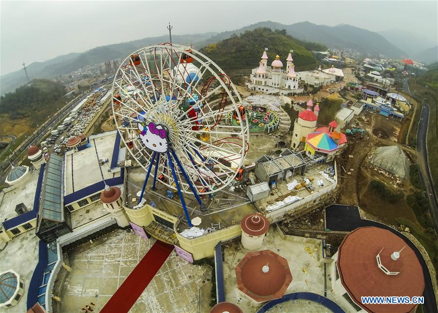 This aerial photo taken on Nov. 28, 2014 shows a newly-completed Hello Kitty theme park in Anji, east China's Zhejiang Province. China is slated to become world's largest theme park market by 2020, when the number of tourists is expected to exceed 230 million, according to a fresh report by U.S. engineering firm AECOM. The number of tourists to Chinese theme parks have seen an average annual growth of 13 percent in the past decade, and reached 190 million in 2017. The number is expected to keep the double digit growth in the following years, according to the report. The report attributes the rapid growth to Chinese consumers' rising income that sparks greater demands on leisure activities, as well as more convenient public transportation systems. (Xinhua/Xu Yu)<br/>
