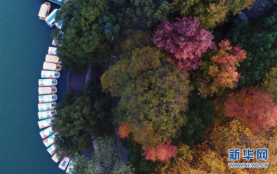 11월 25일, 후난(湖南)열사공원 녠자후(年嘉湖)에 정박되어 있는 관광용 보트(드론 촬영)[촬영: 신화사 리가(李尕) 기자]<br/>
