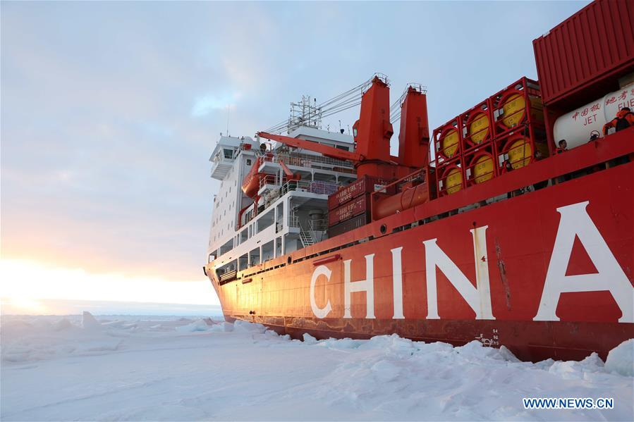 China's research icebreaker Xuelong arrives at the roadstead off the Zhongshan station in Antarctica, Dec. 1, 2018. The research team has carried out unloading work by using the helicopter. Xuelong carrying a research team set sail from Shanghai on Nov. 2, beginning the country's 35th Antarctic expedition. (Xinhua/Liu Shiping)<br/>