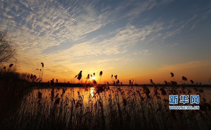<br/>  12月30日在山东省临沂市郯城县沭河岸边拍摄的夕阳。夕阳照耀下的沭河秀美如画。<br/>