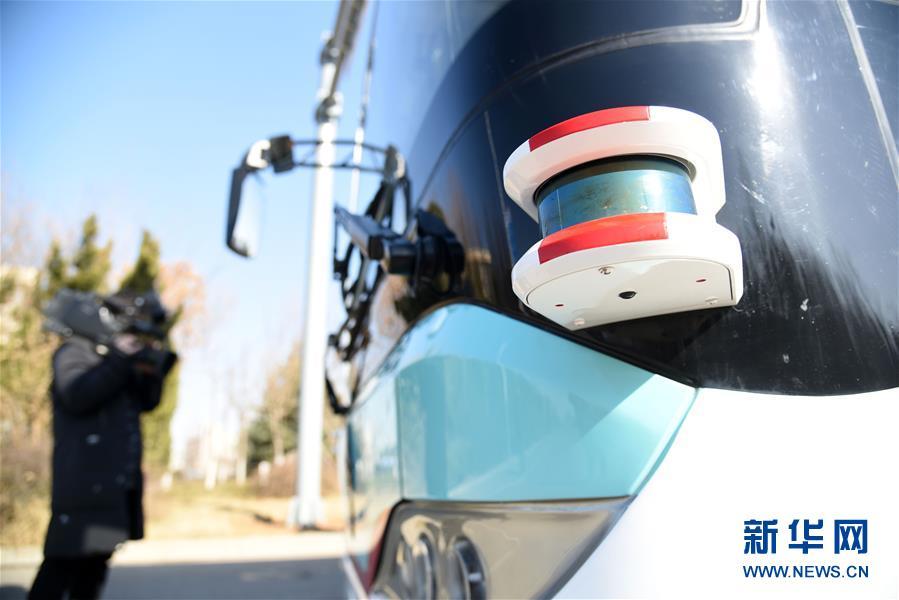 这是应用于无人驾驶汽车的激光雷达探头(1月22日摄)。<br/>