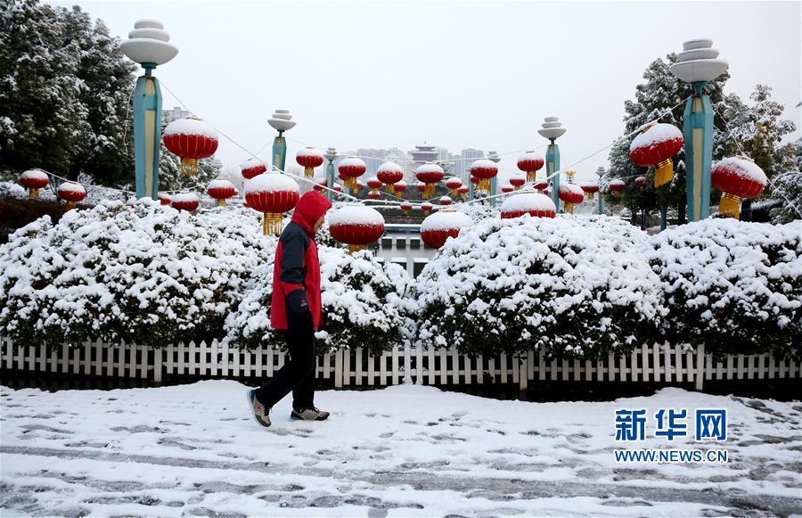 1月31日,市民冒雪在山东省枣庄市东湖公园游玩。<br/>