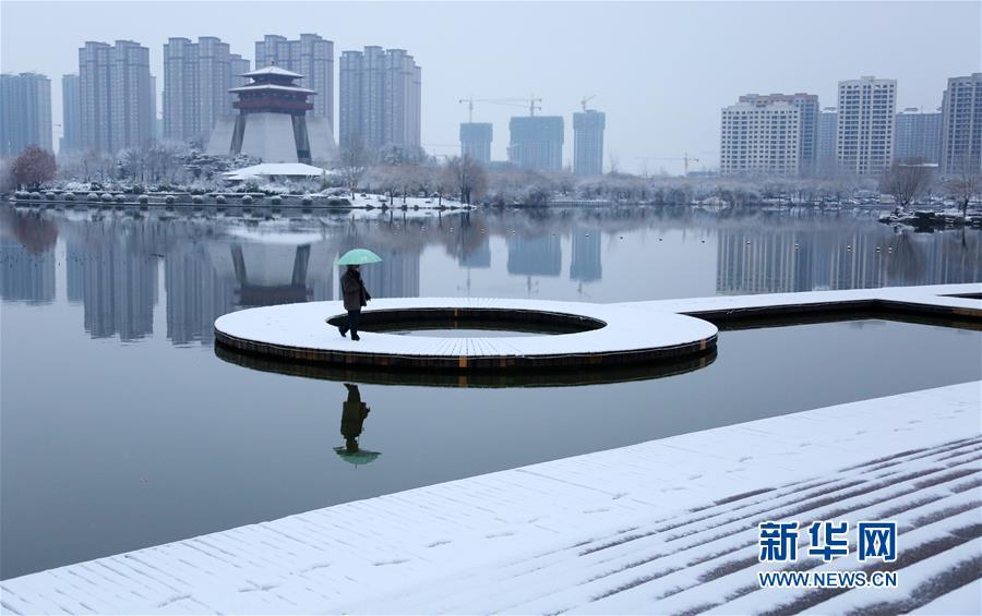 1月31日,市民在山东省枣庄市东湖公园欣赏雪景。<br/>