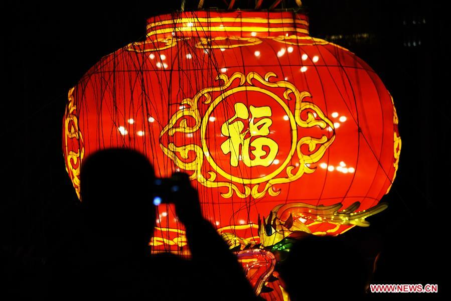 A tourist takes photo of a lantern during the 40th Baotu Spring lantern fair in Jinan, east China's Shandong Province, Feb. 5, 2019, the first day of Chinese Lunar New Year. (Xinhua/Wang Kai)<br/>