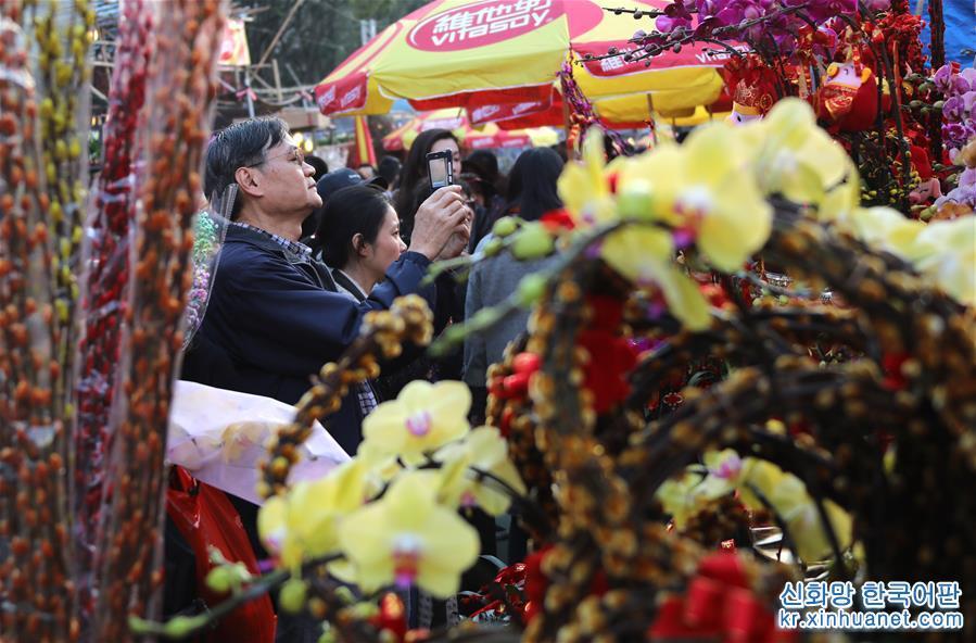춘제(春節, 중국의 설)가 다가오자 홍콩의 각 녠샤오꽃시장은 점점 더 활기넘쳤다. 사람들은 꽃시장을 찾아 꽃구경하며 쇼핑했다. [촬영/ 신화사 기자 우샤오추(吴曉初)]<br/>