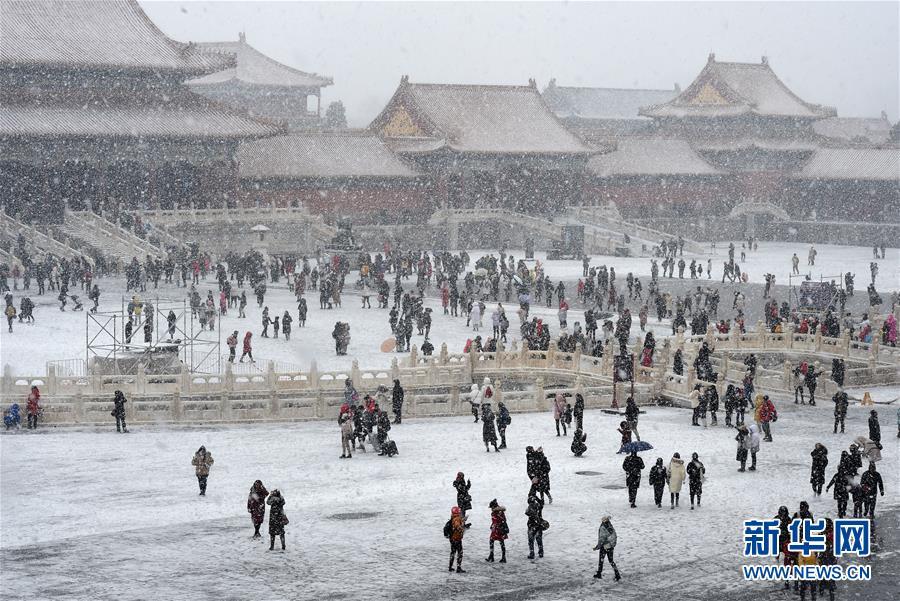 2月14日,游客在雪中游览北京故宫。 当日,北京降雪,大批游人来到故宫游览赏雪。 新华社记者 罗晓光 摄<br/>