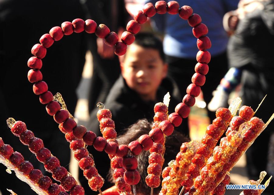 A child looks at tanghulu, a traditional Chinese snack of candied fruit, during an activity to greet the upcoming Lantern Festival in Lihua Village of Renqiu, north China's Hebei Province, Feb. 17, 2019. The traditional Chinese Lantern Festival falls on Feb. 19 this year. (Xinhua/Mu Yu)<br/>