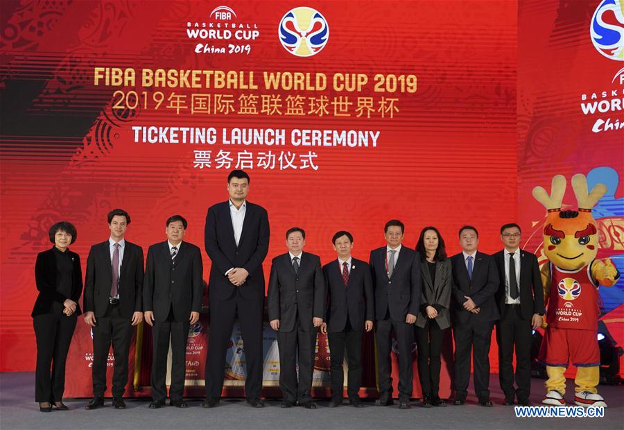<br/> Yao Ming(4th L), president of the Chinese Basketball Association, poses for photos with others during the ticketing launch ceremony of the FIBA Basketball World Cup 2019 in Beijing, China, on Feb. 28, 2019. (Xinhua/Meng Yongmin)