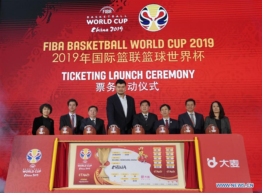 <br/> Yao Ming(4th L), president of the Chinese Basketball Association, attends the ticketing launch ceremony of the FIBA Basketball World Cup 2019 in Beijing, China, on Feb. 28, 2019. (Xinhua/Meng Yongmin)<br/>