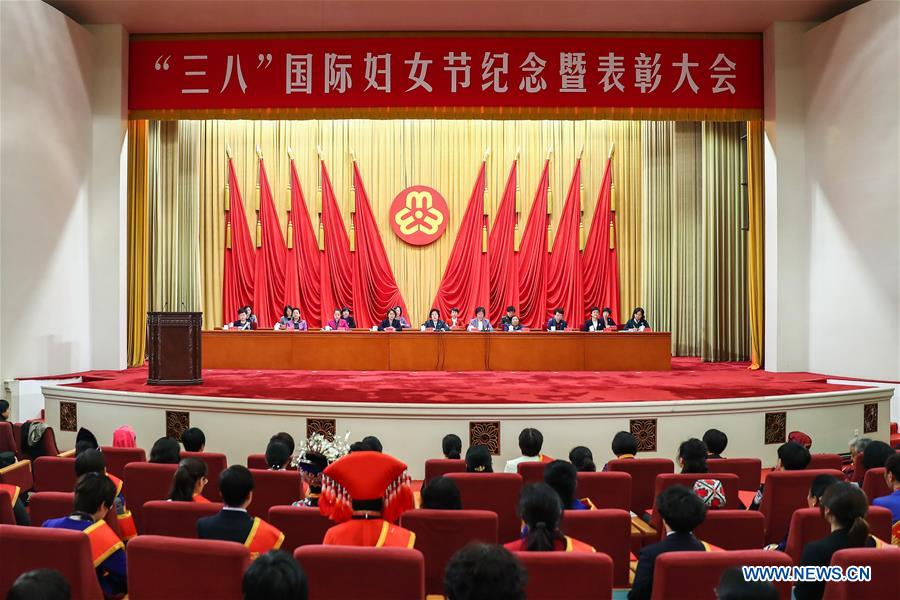 A meeting hosted by the All-China Women's Federation is held to mark International Women's Day in Beijing, capital of China, March 6, 2019. (Xinhua/Zhang Yuwei)<br/>