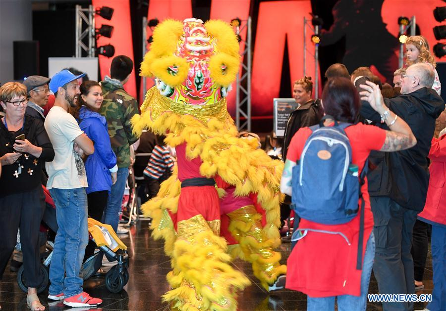 Lion dancers interact with participants during the Chinese Community Stage Festival at Museum of New Zealand in Wellington, New Zealand, March 9, 2019. The Museum of New Zealand held the Chinese Community Stage Festival event on Saturday to celebrate the 2019 China-New Zealand Year of Tourism. (Xinhua/Guo Lei)<br/>
