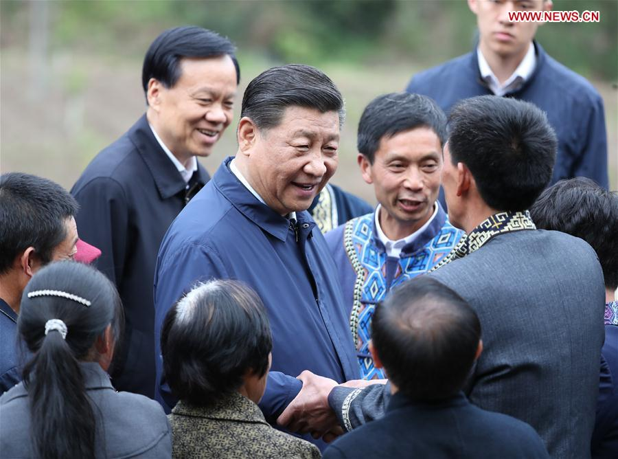 Chinese President Xi Jinping, also general secretary of the Communist Party of China Central Committee and chairman of the Central Military Commission, talks with villagers in Huaxi Village of Shizhu Tujia Autonomous County, southwest China's Chongqing, April 15, 2019. Xi went on an inspection tour in southwest China's Chongqing Municipality Monday. (Xinhua/Ding Haitao)<br/>