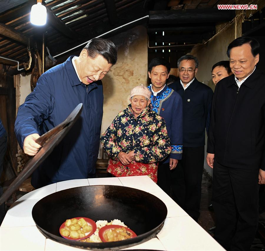 Chinese President Xi Jinping, also general secretary of the Communist Party of China Central Committee and chairman of the Central Military Commission, visits a villager's home to learn about the progress of poverty alleviation and in solving prominent problems including meeting the basic need of food and clothing and guaranteeing compulsory education, basic medical care and safe housing, in Huaxi Village of Shizhu Tujia Autonomous County, southwest China's Chongqing, April 15, 2019. Xi went on an inspection tour in southwest China's Chongqing Municipality Monday. (Xinhua/Xie Huanchi)<br/>
