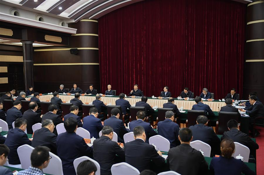 Chinese President Xi Jinping, also general secretary of the Communist Party of China Central Committee and chairman of the Central Military Commission, presides over a symposium about solving prominent problems including meeting the basic needs of food and clothing and guaranteeing compulsory education, basic medical care and housing in southwest China's Chongqing, April 16, 2019. (Xinhua/Xie Huanchi)<br/>