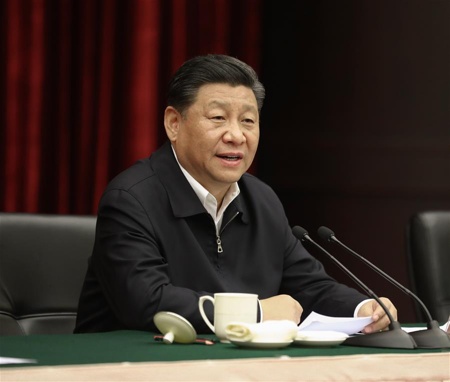 Chinese President Xi Jinping, also general secretary of the Communist Party of China Central Committee and chairman of the Central Military Commission, presides over a symposium about solving prominent problems including meeting the basic needs of food and clothing and guaranteeing compulsory education, basic medical care and housing in southwest China's Chongqing, April 16, 2019. (Xinhua/Ju Peng)<br/>