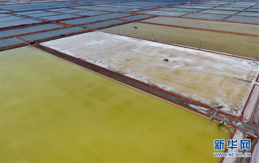 <br/>   4月22日,长芦盐区唐山海港经济开发区大清河盐场的工人在操作机械设备收获春盐(无人机拍摄)。新华社记者杨世尧摄<br/>