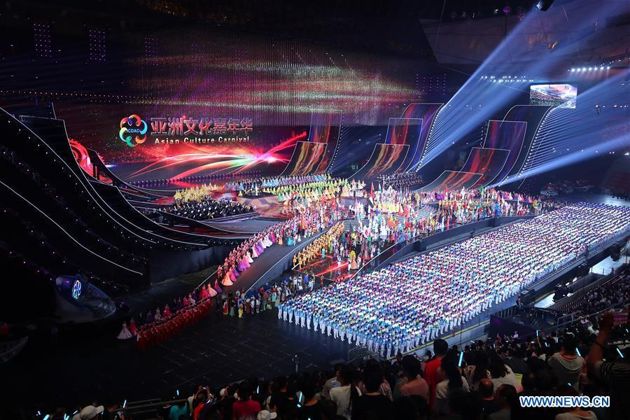 "The choral and orchestral performance ""Our Asia"" is staged at the Asian culture carnival held during the Conference on Dialogue of Asian Civilizations (CDAC) at the National Stadium, or the Bird's Nest, in Beijing, capital of China, May 15, 2019. (Xinhua/Zhang Yuwei)<br/>"