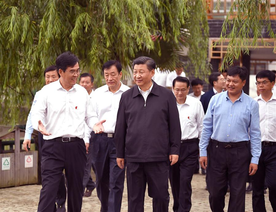 <br/>   Chinese President Xi Jinping, also general secretary of the Communist Party of China Central Committee and chairman of the Central Military Commission, visits Tantou Village in Yudu County, Ganzhou City, during an inspection tour of east China's Jiangxi Province on May 20, 2019. (Xinhua/Xie Huanchi)<br/>