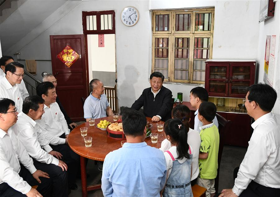 <br/>   Chinese President Xi Jinping, also general secretary of the Communist Party of China Central Committee and chairman of the Central Military Commission, visits Tantou Village in Yudu County, Ganzhou City, during an inspection tour of east China's Jiangxi Province on May 20, 2019. At the home of veteran Sun Guanfa, a descendant of a Red Army martyr, Xi chatted with Sun's family and local officials, and learned in detail about the production developments and life improvements of people in the old revolutionary base. (Xinhua/Xie Huanchi)
