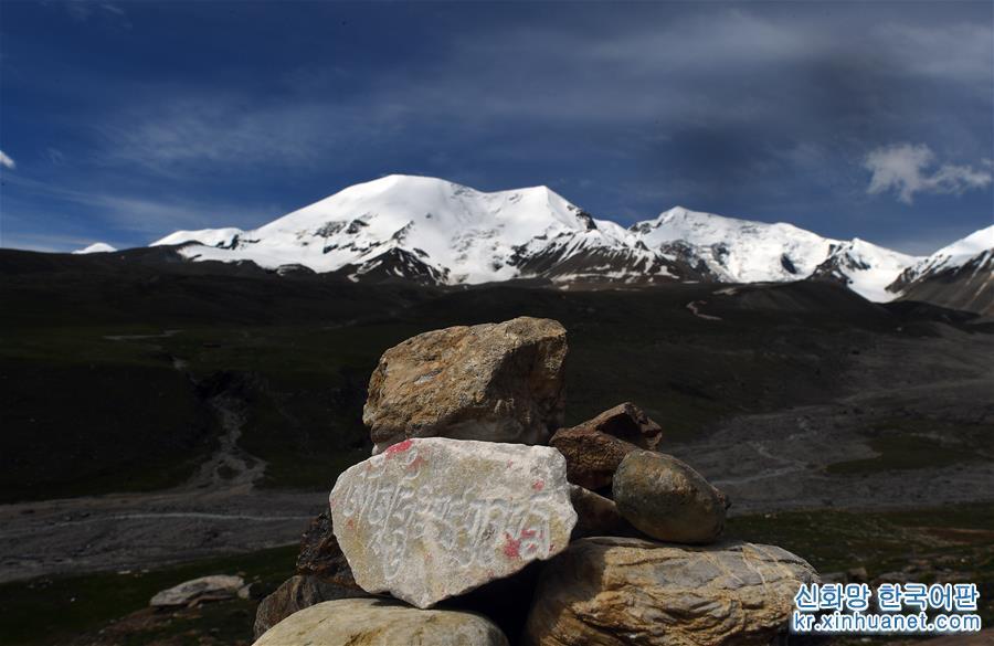 칭하이성 궈뤄(果洛) 짱족자치주 마친(瑪沁)현 경내에 위치한 아니마칭(阿尼瑪卿) 설산은 황하 발원지의 최대 산봉우리다. 아니마칭산의 주봉은 6282m이며, 5000m가 넘는 산봉우리가 18개 있고, 1년 내내 운무로 자욱해 &lsquo;황하 유역의 산중 제왕&rsquo;으로 불린다. 여름이 되면서 아니마칭 설산 주위에는 푸른 풀과 만발한 꽃들로 장관을 이룬다. 맑은 날씨에 성스러운 설산과 푸른 하늘, 흰구름이 어우러진 모습은 매혹적인 풍경을 연출한다. [촬영/신화사 기자 우강(吳剛)]<br/>
