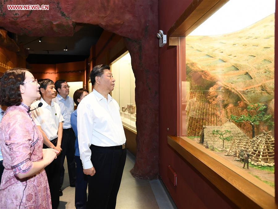 Chinese President Xi Jinping, also general secretary of the Communist Party of China (CPC) Central Committee and chairman of the Central Military Commission, visits Chifeng Museum in Chifeng City, China's Inner Mongolia Autonomous Region, July 15, 2019. Xi went on an inspection tour in Inner Mongolia Monday. (Xinhua/Xie Huanchi)<br/>
