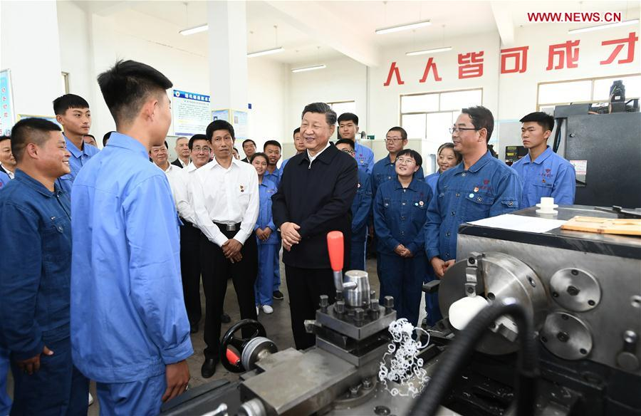 Chinese President Xi Jinping, also general secretary of the Communist Party of China Central Committee and chairman of the Central Military Commission, makes an inspection tour to the Bailie School and a horse ranch in Shandan County of Zhangye, northwest China's Gansu Province, Aug. 20, 2019. (Xinhua/Xie Huanchi)<br/>