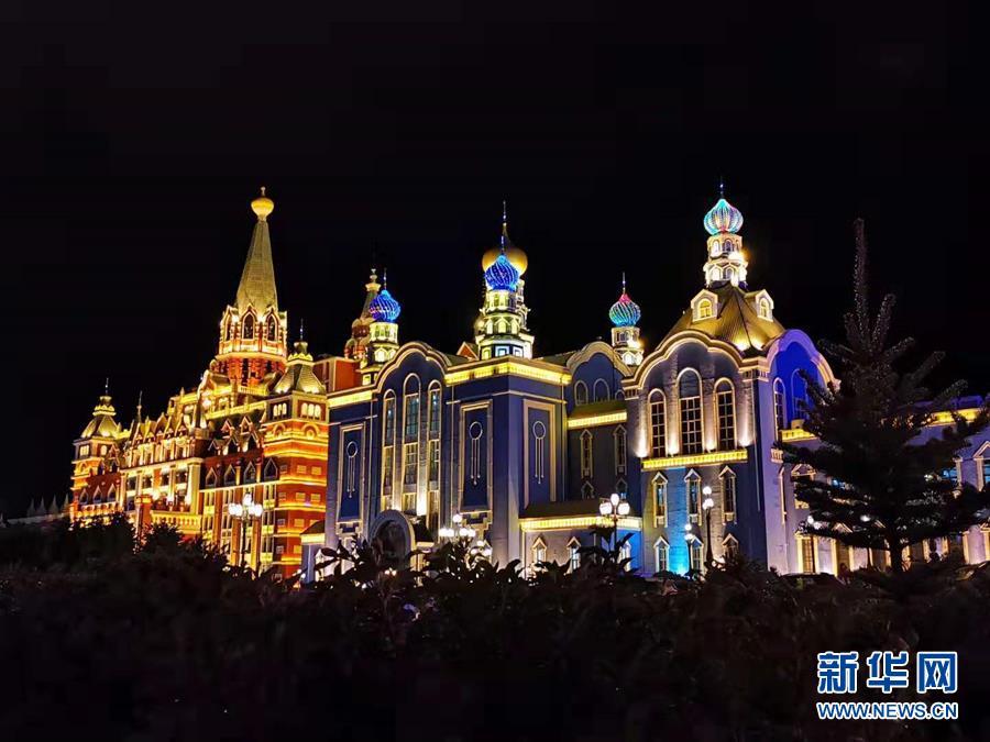 드론으로 촬영한 만저우리(滿洲里)시 야경 [사진 출처: 신화망]