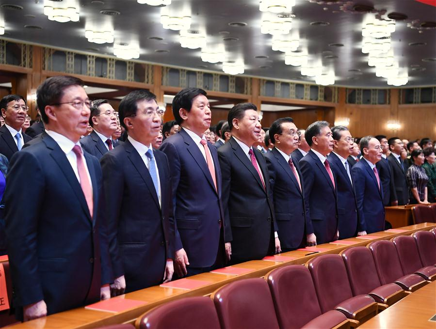 "<br/>Xi Jinping, Li Keqiang, Li Zhanshu, Wang Yang, Wang Huning, Zhao Leji, Han Zheng and Wang Qishan join over 4,000 people to watch a high-profile art performance, named ""Stride Forward, the Nation,"" at the Great Hall of the People in Beijing, capital of China, Sept. 29, 2019. The performance was held here on Sunday evening in celebration of the 70th founding anniversary of the People's Republic of China. (Xinhua/Xie Huanchi)<br/>A high-profile art performance was held in Beijing on Sunday evening, ahead of the National Day that falls on Oct. 1, in celebration of the 70th founding anniversary of the People's Republic of China (PRC).<br/>Xi Jinping, Li Keqiang, Li Zhanshu, Wang Yang, Wang Huning, Zhao Leji, Han Zheng and Wang Qishan joined over 4,000 people to watch the performance, named ""Stride Forward, the Nation,"" at the Great Hall of the People.<br/>At 7:55 p.m., Xi and other leaders walked into the auditorium and shook hands with the representatives of senior comrades, paying respect to them amid applause.<br/>The performance was divided into four parts, featuring symphony, chorus, poetry recital and dance.<br/>The first part recalled the days when the Chinese nation was in despair and presented how the Communist Party of China (CPC) united Chinese people and led them to found New China after 28 years of struggles.<br/>The second part focused on the socialist revolution and construction period after New China was founded in 1949. The third part showed China's development since the reform and opening-up as well as the people's aspiration for national reunification.<br/>The fourth part showed the progress achieved as socialism with Chinese characteristics entered a new era since the 18th CPC National Congress.<br/>"