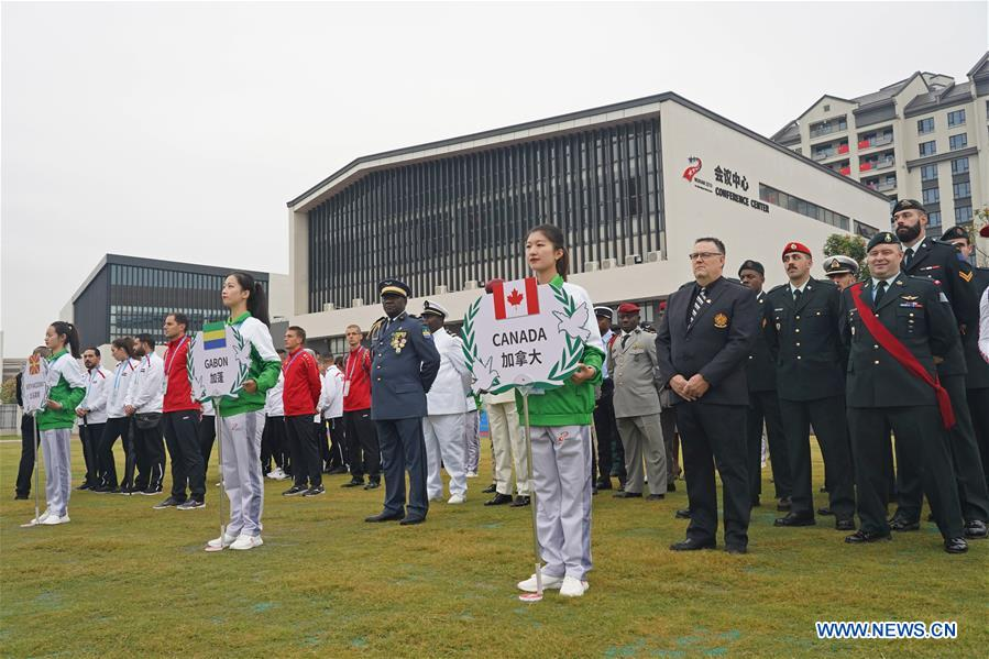 Photo taken on Oct. 16, 2019 shows a view of the flag-raising ceremony at the athletes' village of the 7th International Military Sports Council (CISM) Military World Games in Wuhan, capital of central China's Hubei Province.(Xinhua/Wan Xiang)<br/>