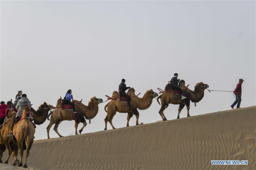 Tourists ride camels to enjoy the desert scenery at Lop Nur People Village in Yuli County, northwest China's Xinjiang Uygur Autonomous Region, Oct. 26, 2019. In the first three quarters of this year, Xinjiang received over 183.85 million tourists from home and abroad with a year-on-year increase of 40.9 percent, and saw a total tourism revenue of more than 304.6 billion yuan (about 43.1 billion U.S. dollars) with a year-on-year growth of 40.78 percent. (Xinhua/Zhao Ge)<br/>