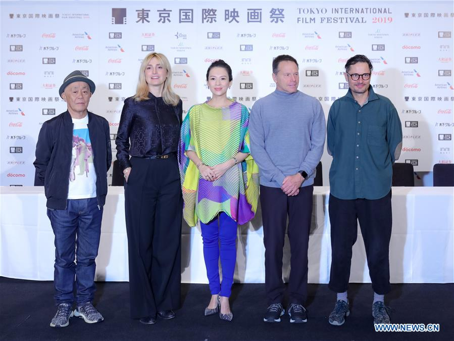 <br/> Jury members Ryuichi Hiroki, Julie Gayet, Zhang Ziyi, Bill Gerber, Michael Noer (from L to R) pose for photos at a press conference during the 32nd Tokyo International Film Festival in Tokyo, Japan, Oct. 29, 2019. (Xinhua/Ma Caoran)<br/>